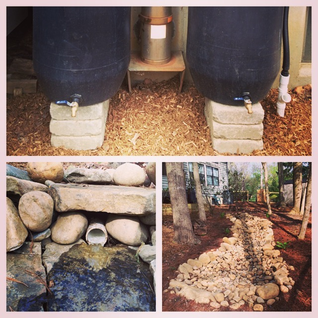 Dry creek and rain barrels