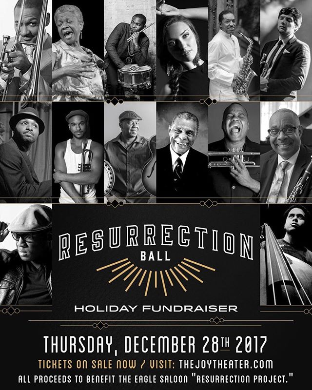 "Join us for the Holidays, December 28th @joytheater for an incredible night of music at the ""Resurrection Ball"" Opening Act: Dr. Michael White & The Liberty Jazz Band Main Act: The Perdido Street Legacy Band featuring Donald Harrison, Delfeayo Marsalis, Germaine Bazzle, Charlie Gabriel, Big Sam, Sasha Masakowski, James Andrews, Detroit Brooks, Branden Lewis, Joe Dyson, Sullivan Fortner, John Michael Bradford, Jasen Weaver plus special guests / All proceeds benefit @eaglesaloon""Resurrection Project"" Purchase tickets now from the link in our bio or visit www.thejoytheater.com"