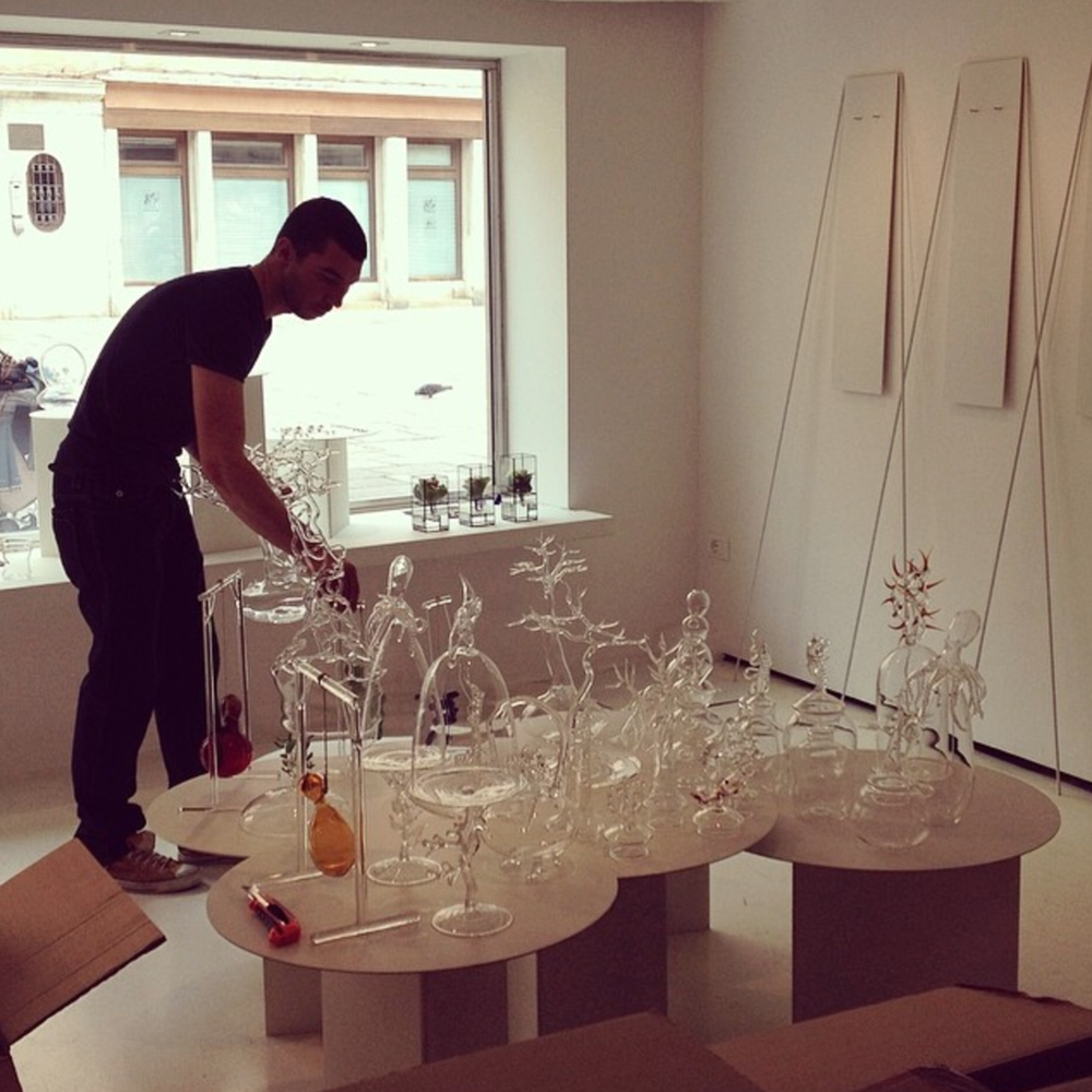 Simone Crestani installing his show, photo: OHMYBLUE