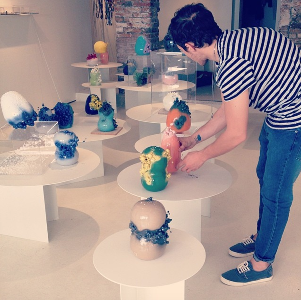 Francesco Ardini installing his show, photo: OHMYBLUE