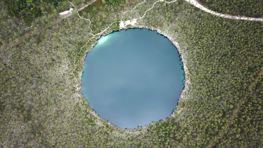 Aerial view of Captain Bill's Blue Hole Photo Credit: Ben Duschnitzky