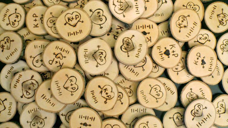 Wood-burned save-the-date magnets