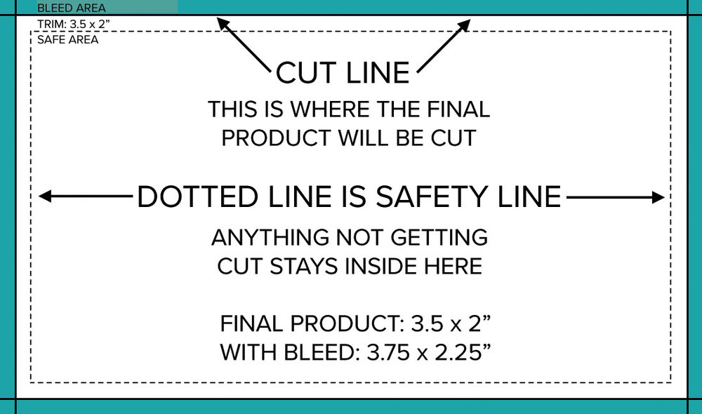 bleed and cut line guide for printing