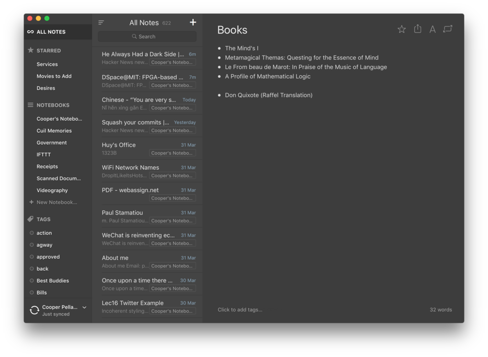 Alternote, a better Evernote client for the Mac (Screenshot curtesy of Cooper Pellaton)