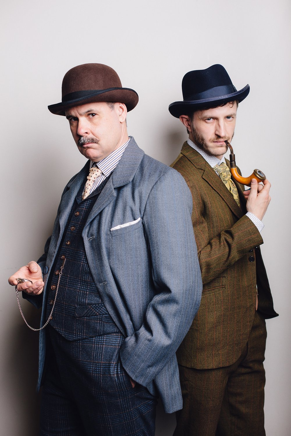 Curt McKinstry as Watson (left) and Braden Griffiths as Holmes (right), costumes designed by Deitra Kalyn, photography by diane+mike photography