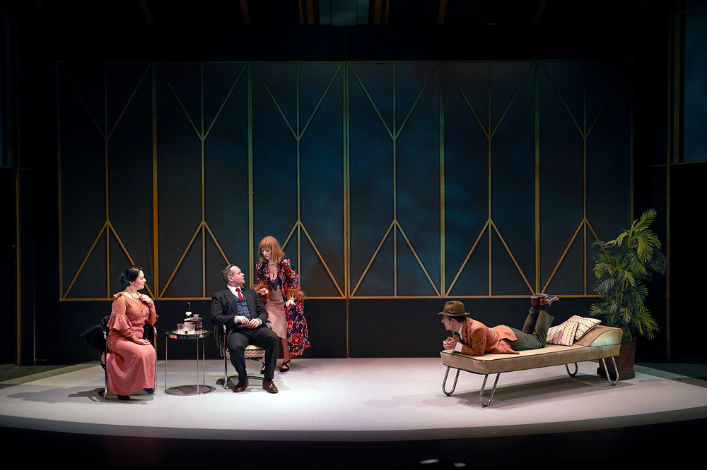 The cast of THE THIN MAN. Set design by Scott Reid, Costume Design by Deitra Kalyn, Lighting by Anton De Groot, photo by Trudie Lee.