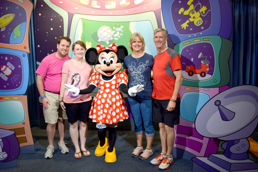 With Darren's parents Karen & Bill with Minnie Mouse at Disneyworld.