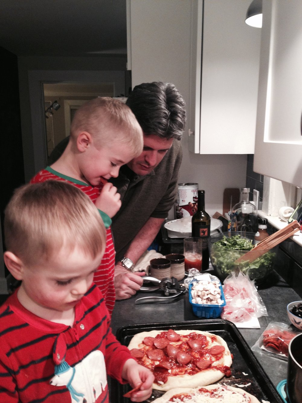 Making pizza with our nephews