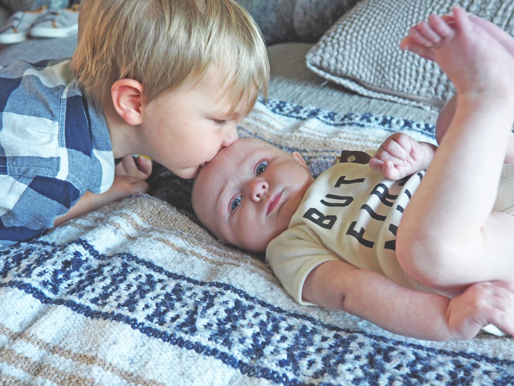 Brotherly love! Mercer giving Boden a kiss