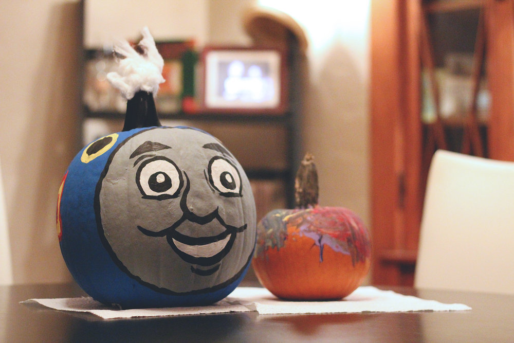 Jenn painted a Thomas pumpkin for Louis one year