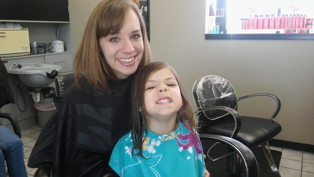 Mom and Audrey get hair cuts!