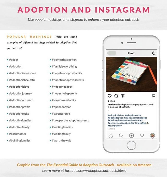 Let's talk about Instagram! The number one question I get asked is about hashtags- what the heck are they and how to choose the best ones for adoption outreach.  This graphic has some great ideas for adoption #hashtags  that you can use on Instagram. If you have others share them here!  PS Feel free to share this post or graphic! • • • #adopt #adoption #adoptionisawesome #adoptionisbeautiful #adoptionislove #adoptionjourney #adoptionoutreach #hopefullyparents #adopted #adoptionrocks #theessentialguidetoadoptionoutreach