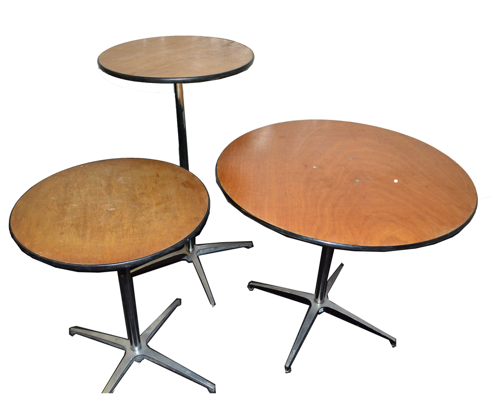 "Our inventory on tables include cocktail tables in 3 sizes. There are two heights for cocktail tables.  48"" Round Table  36"" Round Tables  24"" Round Table  TABLE PRICES VARY FROM :  $6.75 - $11.00"