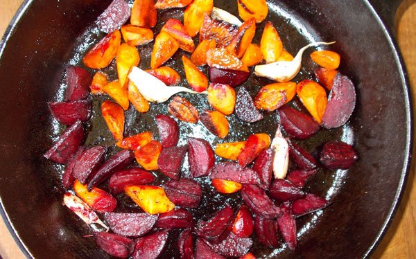 Roasted Beets and Carrots with Honey + Vinegar from our Farm Shares (a employee benefit at Skillet Creative).