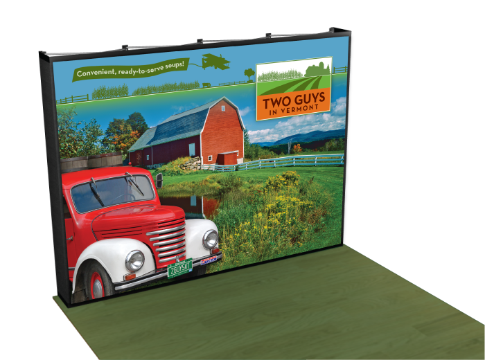A bright trade-show background design we crafted for Two Guys Vermont.