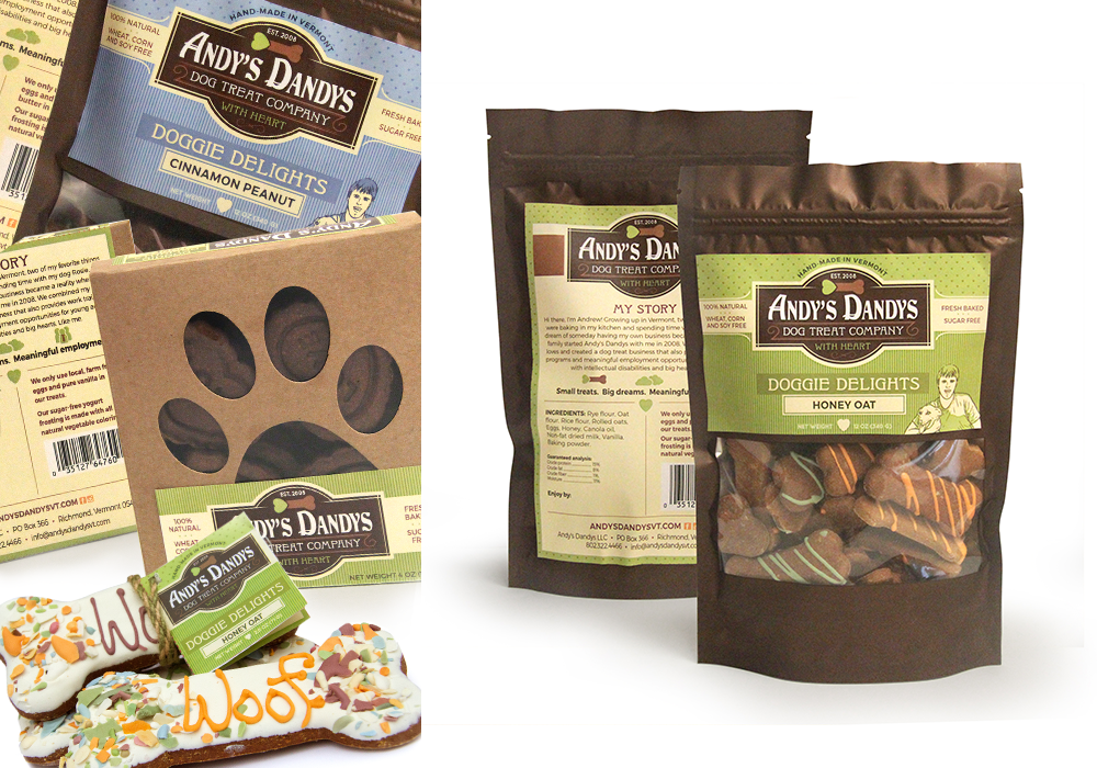 Andy's Dandys Dog Treat Package Design