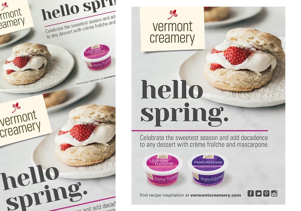 Vermont Creamery Hello Spring Poster Design