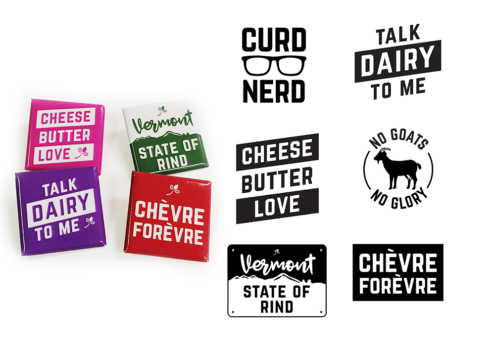 Vermont Creamery Trade Show Button Designs