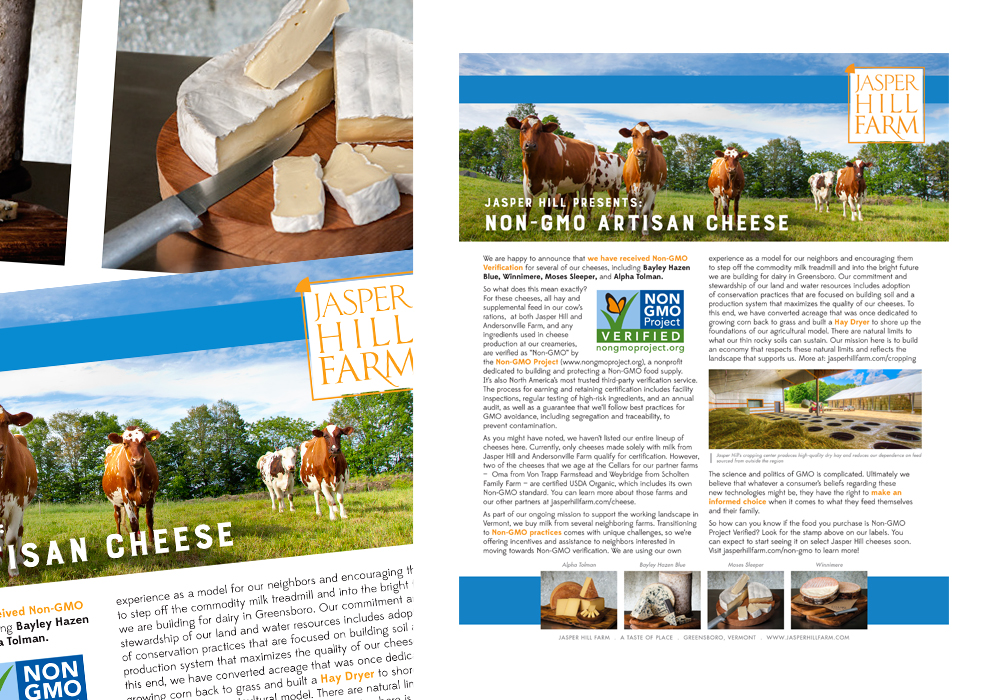 Jasper Hill Farm Food Print Publication Design