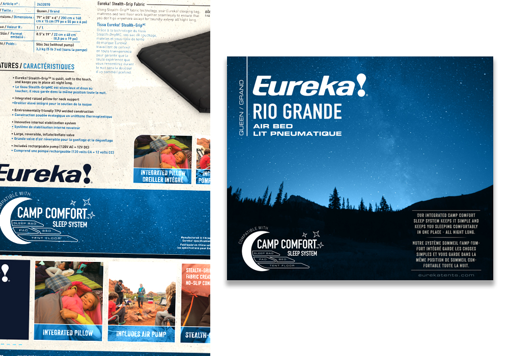 Eureka Rio Grande Air Bed Package Design