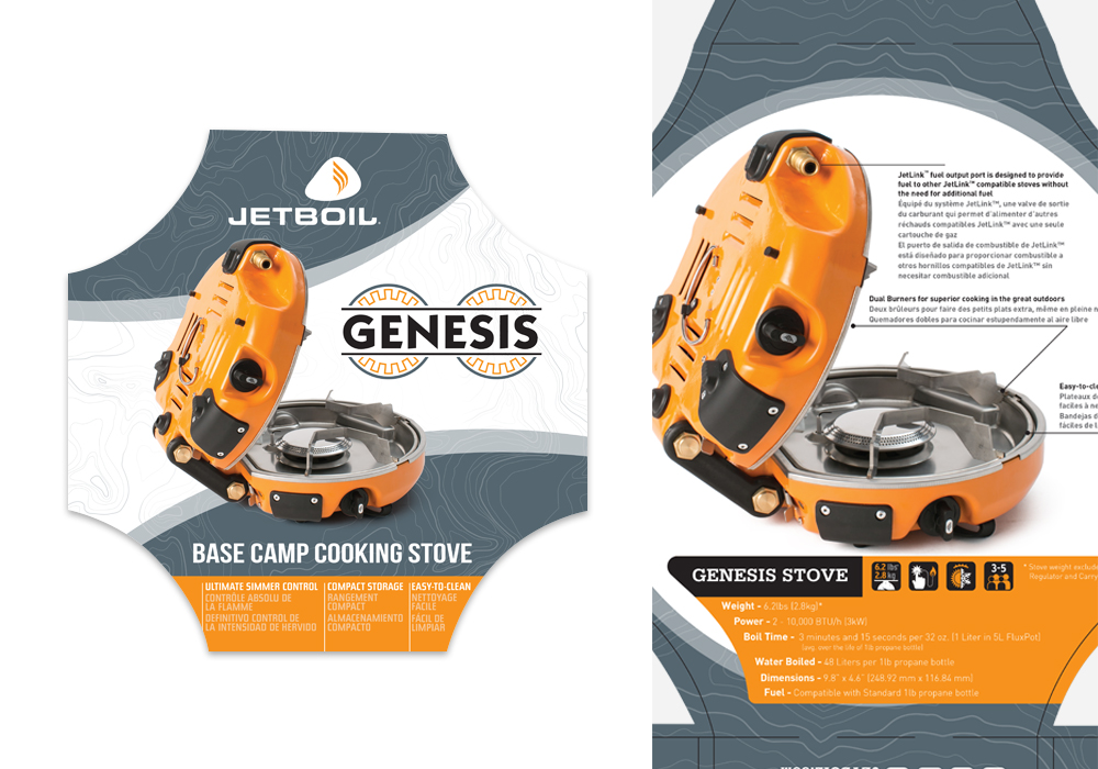 Jetboil Genesis Cooking Stove Die-Line Package Design