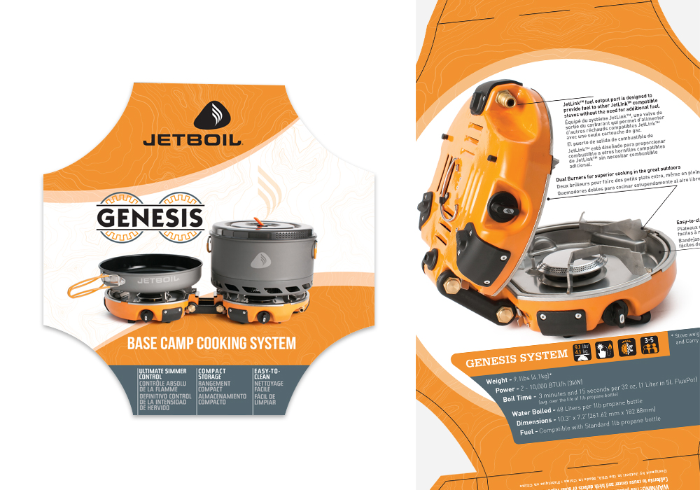 Jetboil Genesis Cooking System Die-Line Package Design
