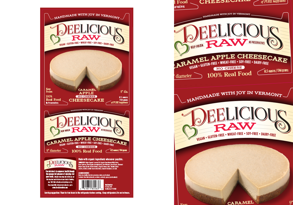 Delicious Raw Caramel Apple Cheesecake Packaging