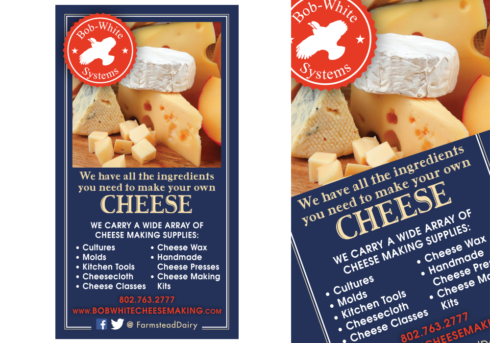 Bob White Systems Cheese Making Ad Design