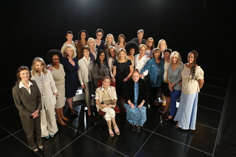 Kate Snow (middle) with 27 of the women who accused Bill Cosby. The Cosby Accusers Speak, Snow's segment for Dateline NBC, won a 2017 duPont-Columbia Award.