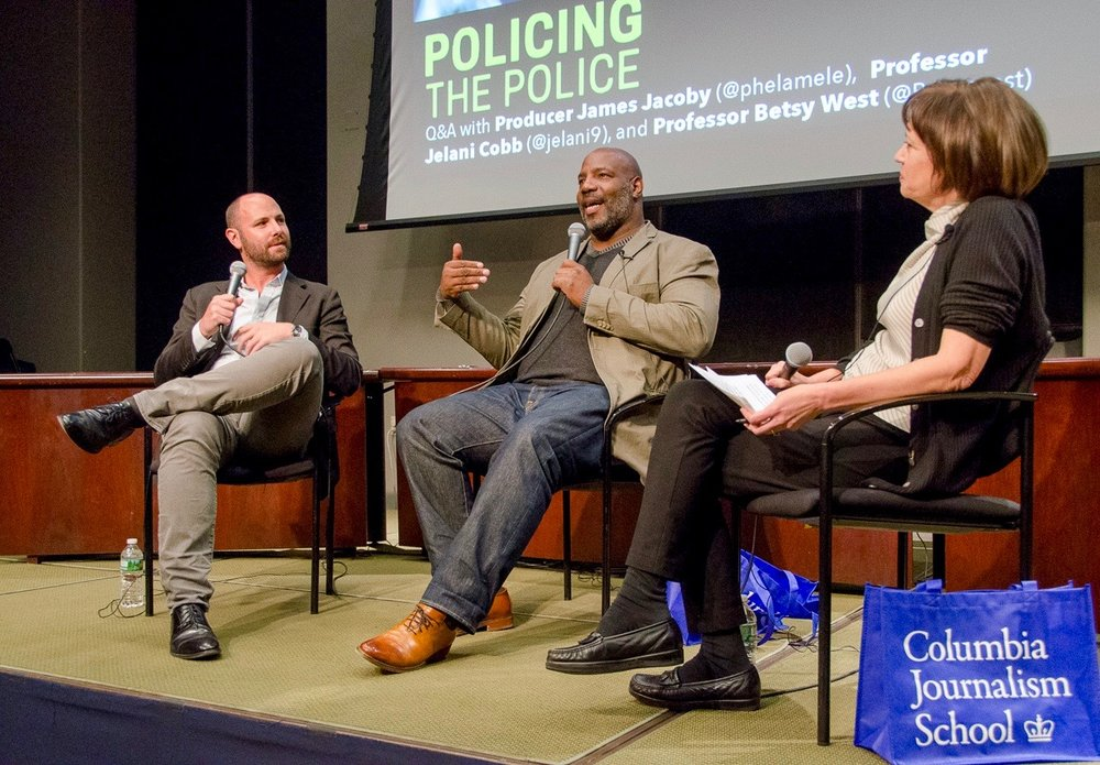Director James Jacoby, Professor Jelani Cobb and Professor Betsy West after the screening of Policing the Police.