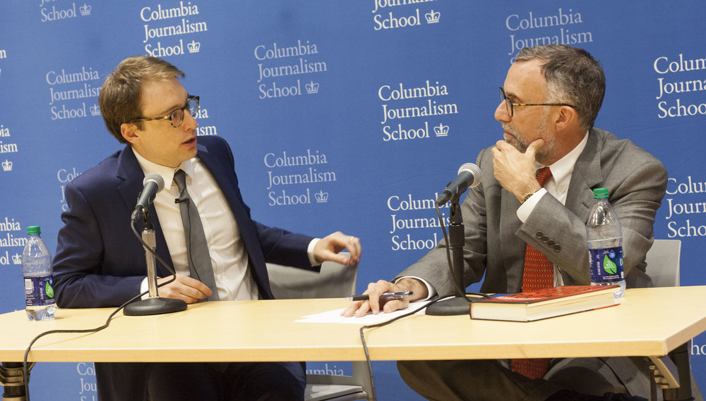 Gabriel Sherman and Bill Grueskin in conversation at the Columbia Journalism School on September 8th, 2016.