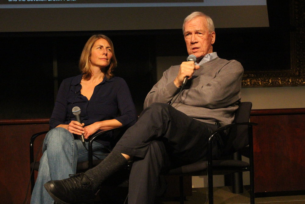 Sacha Pfeiffer and Walter Robinson in discussion after a screening of Spotlight at The Columbia Journalism School.