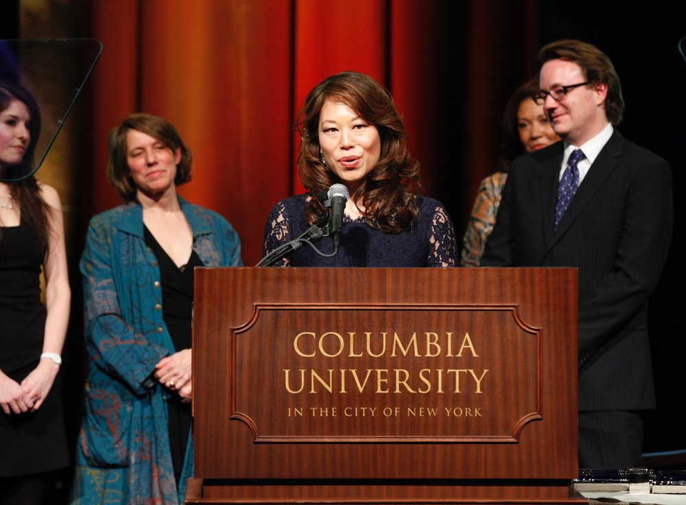 Ailsa Chang accepting the duPont-Columbia Award in 2012 for WNYC's reporting on NYPD misconduct.