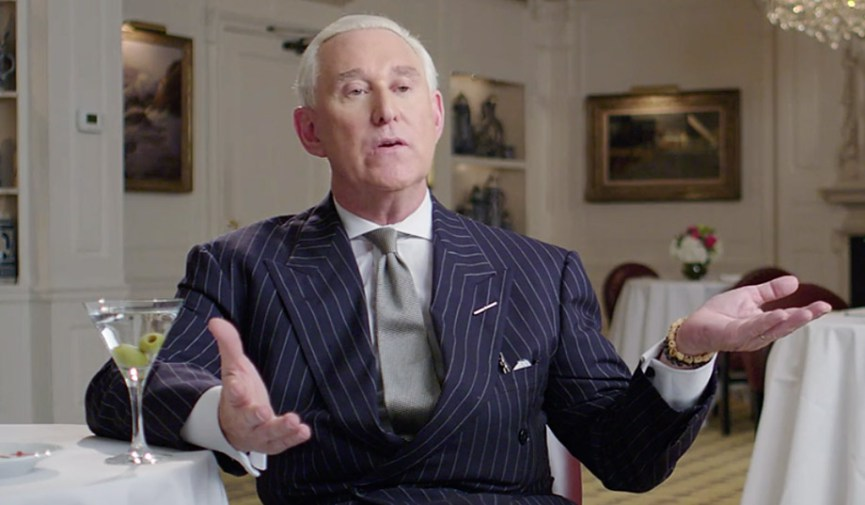 "Roger Stone in an interview for the documentary, ""Get Me Roger Stone."""