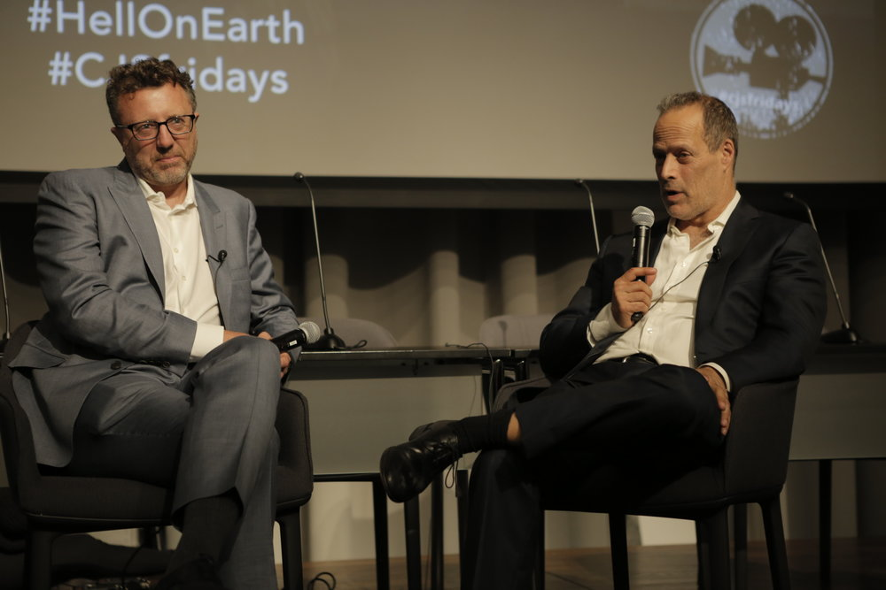 Nick Quested and Sebastian Junger at the Columbia Journalism School, following a Film Friday screening.