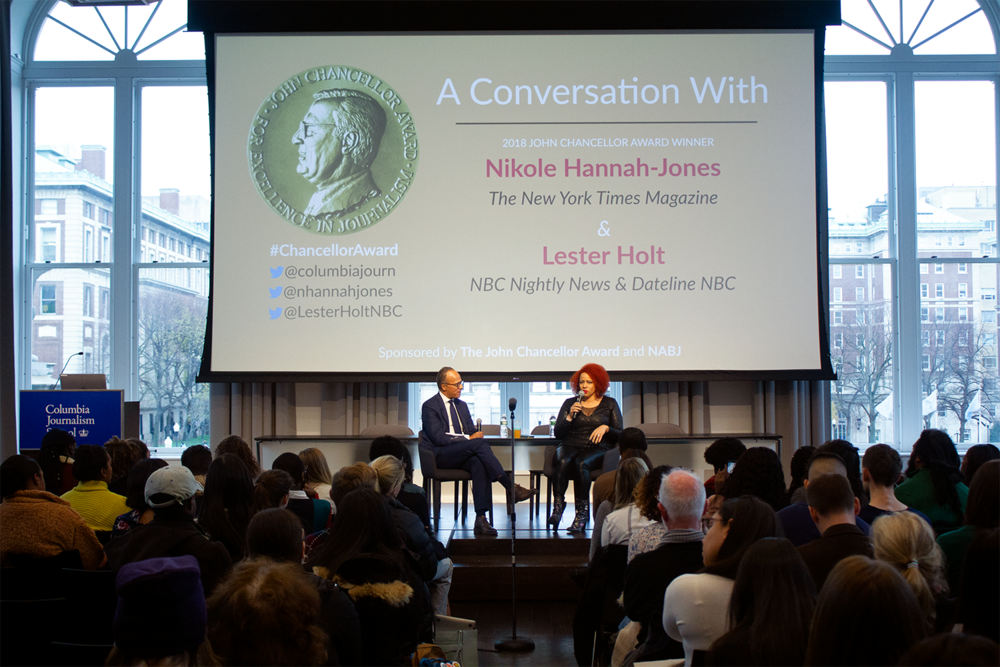NYT Magazine's Nikole Hannah-Jones talks to NBC News anchor Lester Holt about the work that garnered her a 2018 John Chancellor Award for Excellence in Reporting.