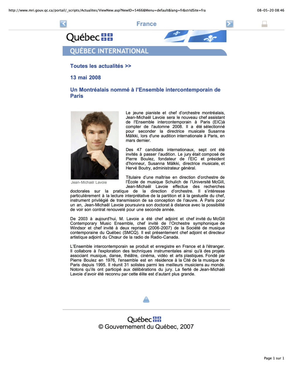 Gouvernement du Québec (2008)