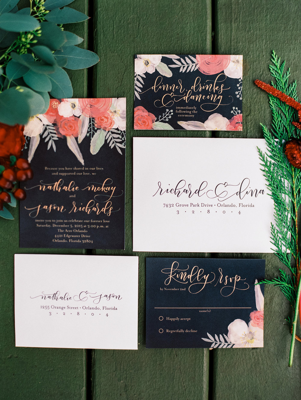 Dark and Moody Wedding Invitations