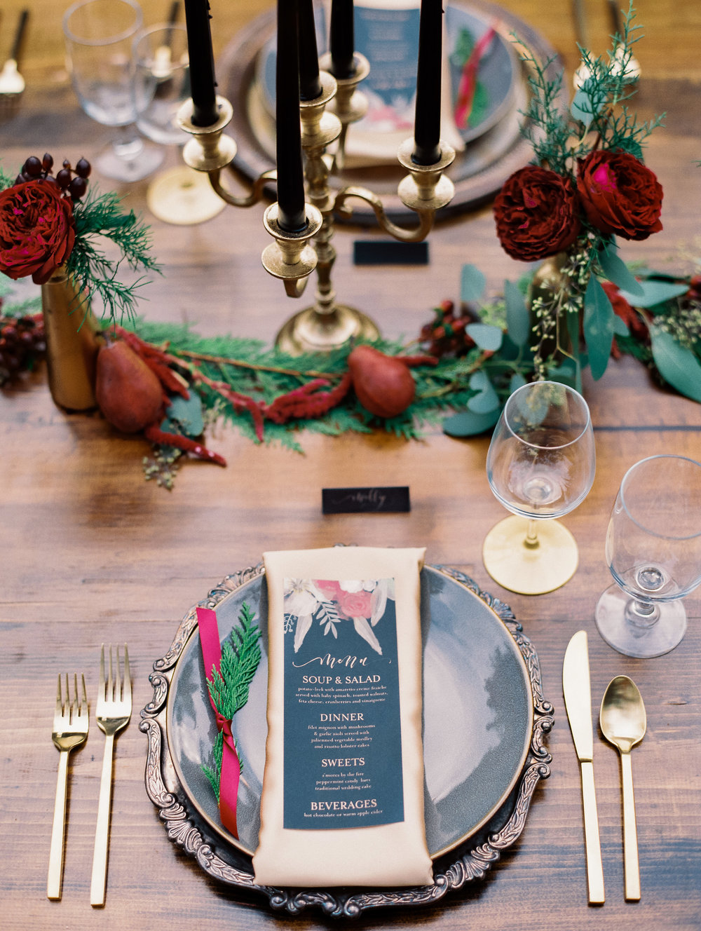 Winter wedding tablescape with menu