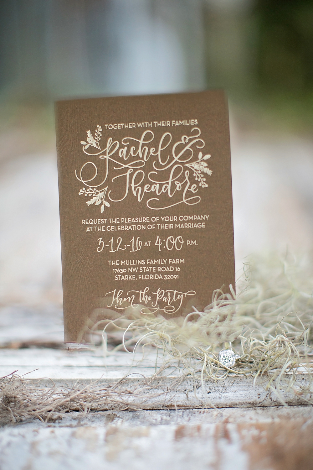 Gold Foil Wedding Invitation for Rustic Wedding