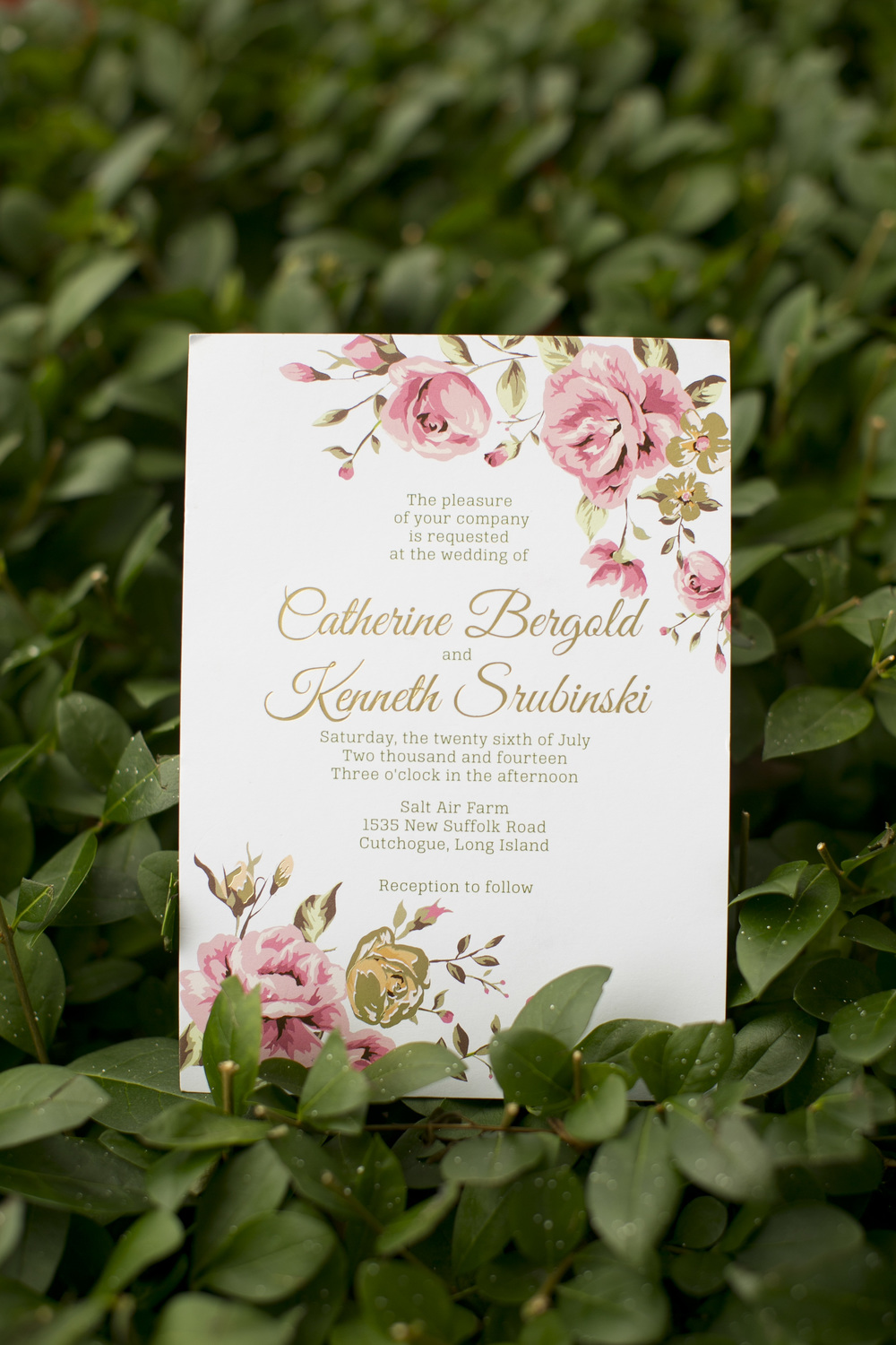 Formal floral wedding invitation