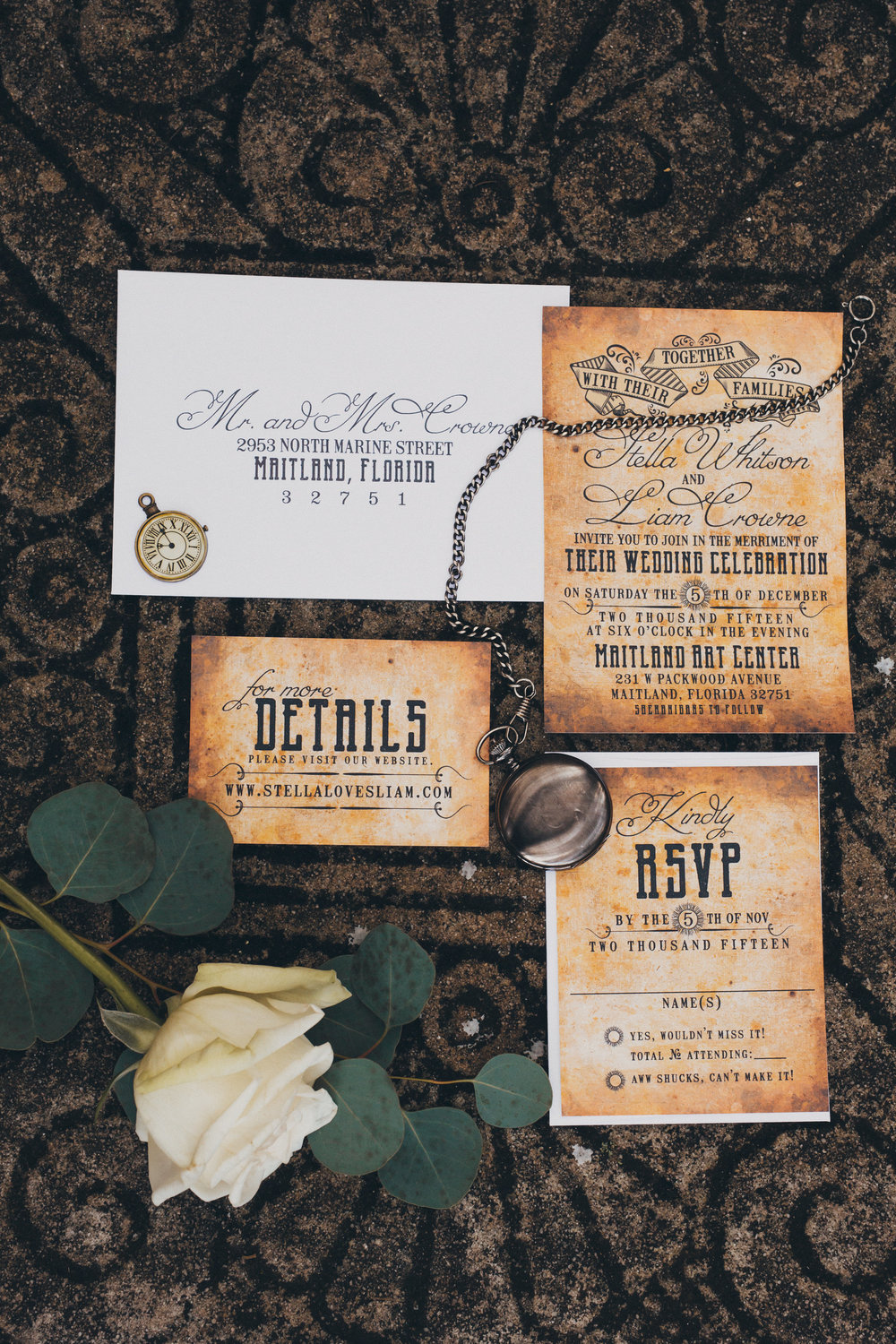 Steampunk wedding invitations