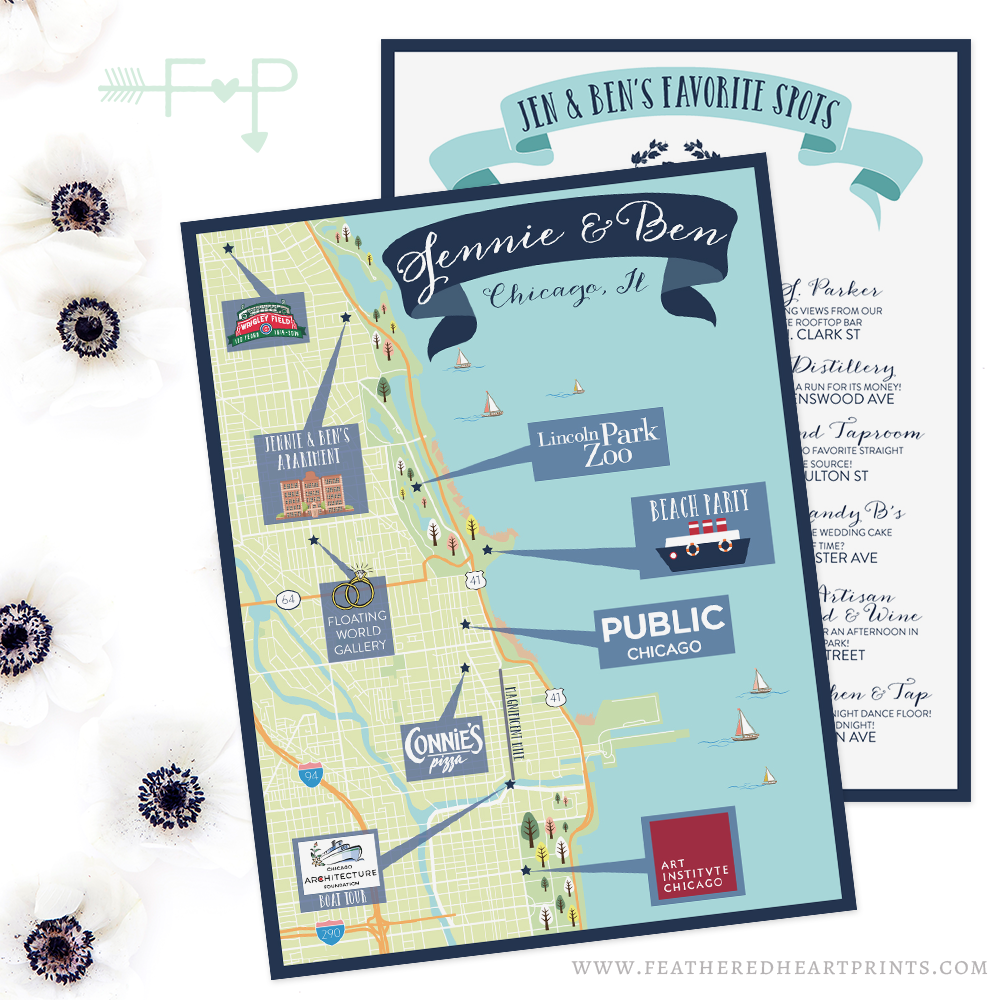 Custom Illustrated Maps by Feathered Prints — Feathered ... on