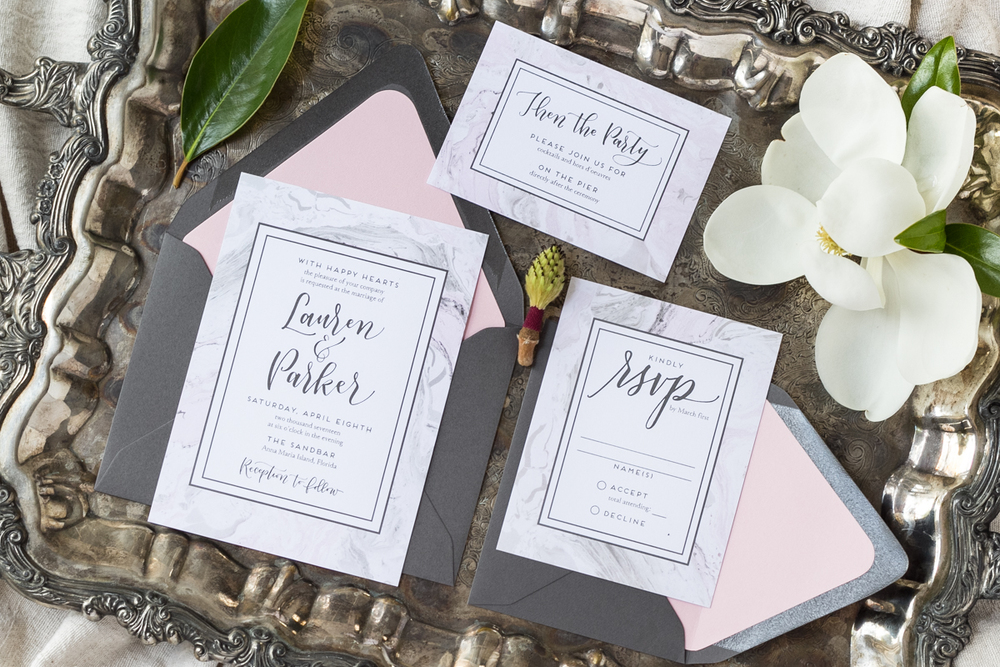 Pink and Gray Wedding Invitations - Marble Invites - Feathered Heart Prints