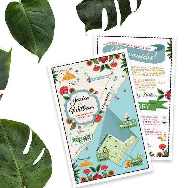 Custom Wedding Map - Mexico Destination Wedding - Feathered Heart Prints