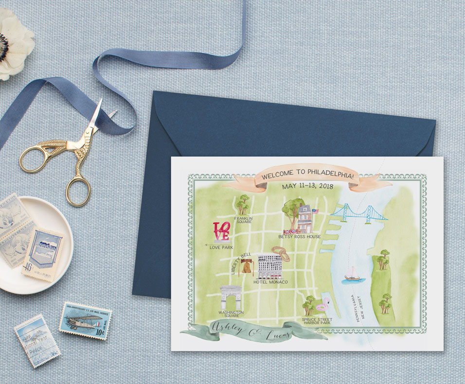 Watercolor Philadelphia Map by Feathered Heart Prints