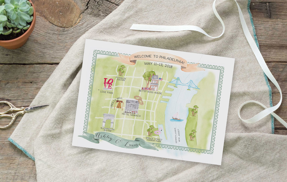 Hand Painted Custom Watercolor Wedding Map of Philadelphia - Feathered Heart Prints