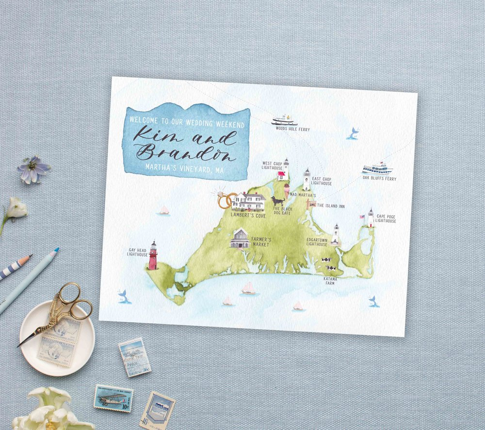 Hand Painted Watercolor Martha's Vineyard Wedding Map- Feathered Heart Prints
