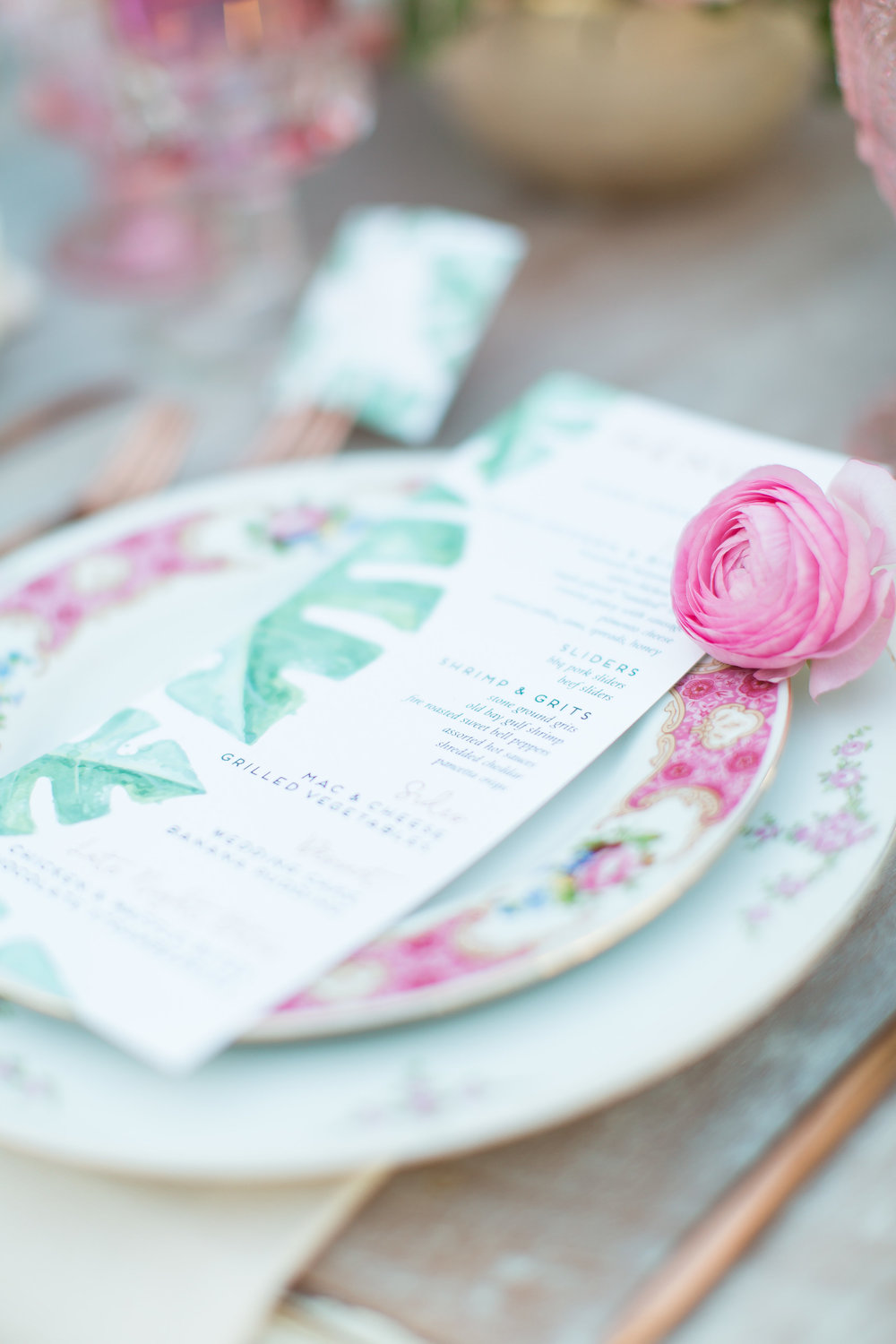 Custom Watercolor Wedding Stationery - tropical themed wedding menu - Feathered Heart Prints