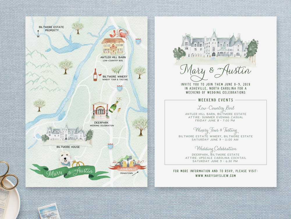 Watercolor Asheville North Carolina Wedding Map with Custom Dog Illustrations-Feathered Heart Prints